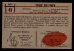 1953 Bowman #49  Fred Bruney  Back Thumbnail