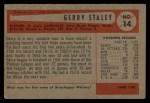 1954 Bowman #14  Gerry Staley  Back Thumbnail
