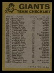 1974 Topps Red Checklist   Giants Back Thumbnail