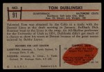 1953 Bowman #91  Tom Dublinski  Back Thumbnail