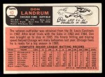 1966 Topps #43 DRK Don Landrum  Back Thumbnail