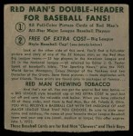 1952 Red Man #6 NL x Sid Gordon  Back Thumbnail
