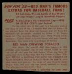 1953 Red Man #13 AL x Gus Zernial  Back Thumbnail