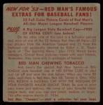 1953 Red Man #12 AL x Gene Woodling  Back Thumbnail