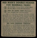 1952 Red Man #7 NL x Granny Hamner  Back Thumbnail