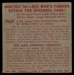 1953 Red Man #14 NL x Duke Snider  Back Thumbnail