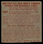 1953 Red Man #2 NL x Bobby Adams  Back Thumbnail