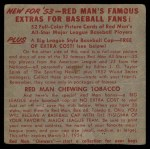 1953 Red Man #7 NLx Whitey Lockman  Back Thumbnail