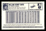 1973 Kelloggs #43  Willie Davis  Back Thumbnail