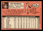 1969 Topps #655  Mike Hershberger  Back Thumbnail