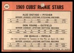 1969 Topps #602 ^VIS^  -  Alec Distaso / Don Young / Jim Qualls Cubs Rookies Back Thumbnail
