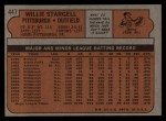 1972 Topps #447  Willie Stargell  Back Thumbnail