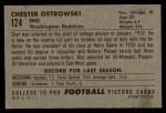 1952 Bowman Large #124  Chet Ostrowski  Back Thumbnail