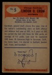 1955 Bowman #5  Lindon Crow  Back Thumbnail