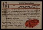 1953 Bowman #12  Bill McColl  Back Thumbnail