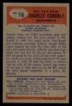 1955 Bowman #16  Charley Conerly  Back Thumbnail
