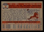 1957 Topps #9  Johnny Temple  Back Thumbnail