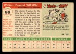 1955 Topps #86  Bill Wilson  Back Thumbnail