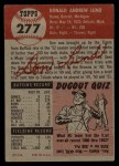 1953 Topps #277  Don Lund  Back Thumbnail