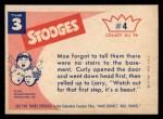 1959 Fleer Three Stooges #4   You'll Sleep in the Room  Back Thumbnail