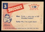 1959 Fleer Three Stooges #28   What Happened to Our Reservation  Back Thumbnail
