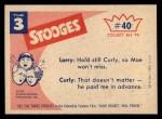 1959 Fleer Three Stooges #40   I Never Miss  Back Thumbnail