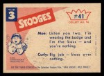 1959 Fleer Three Stooges #41   About Face  Back Thumbnail