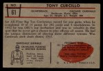 1953 Bowman #61  Tony Curcillo  Back Thumbnail