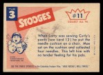 1959 Fleer Three Stooges #11   There's 4 Needles in My Pants  Back Thumbnail