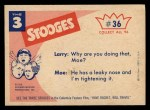 1959 Fleer Three Stooges #36   Get Your Nose Out of My Business  Back Thumbnail