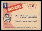 1959 Fleer Three Stooges #53   That's an Order  Back Thumbnail