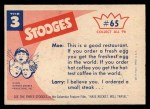 1959 Fleer Three Stooges #65   Dinner Music  Back Thumbnail