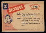 1959 Fleer Three Stooges #42   Hair Raising Experience.  Back Thumbnail