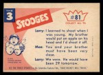 1959 Fleer Three Stooges #81   He Must Be Around Here  Back Thumbnail