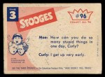 1959 Fleer Three Stooges #96   Trying the Squeeze Play  Back Thumbnail