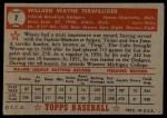 1952 Topps #7 RED Wayne Terwilliger  Back Thumbnail