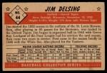 1953 Bowman Black and White #44  Jim Delsing  Back Thumbnail