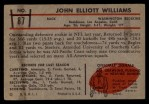 1953 Bowman #87  John Williams  Back Thumbnail