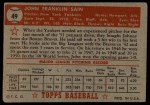 1952 Topps #49 ^RED ^  Johnny Sain  Back Thumbnail