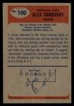 1955 Bowman #100  Alex Sandusky  Back Thumbnail