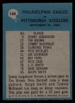 1964 Philadelphia #140   -  Joe Kuharich Eagles Play of the Year Back Thumbnail