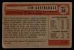 1954 Bowman #28 ERR Jim Greengrass  Back Thumbnail