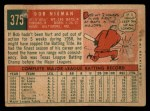 1959 Topps #375  Bob Nieman  Back Thumbnail