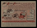 1958 Topps #212  Bubba Phillips  Back Thumbnail