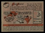 1958 Topps #315  Bob Friend  Back Thumbnail