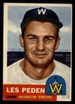 1953 Topps #256  Les Peden  Front Thumbnail