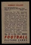 1951 Bowman #37  Horace Gillom  Back Thumbnail