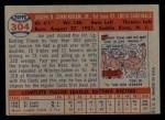 1957 Topps #304  Joe Cunningham  Back Thumbnail