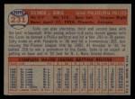 1957 Topps #231  Solly Hemus  Back Thumbnail