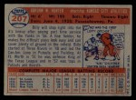1957 Topps #207  Billy Hunter  Back Thumbnail
